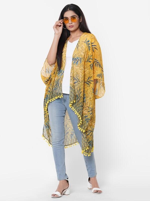 Free Size Printed Kimonos with Fancy Poms.
