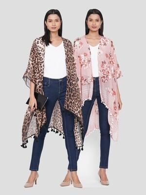 Printed Kimonos with Fancy Poms Combo