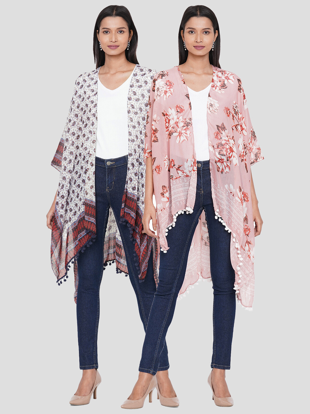 Printed Kimonos with Fancy Poms Combo