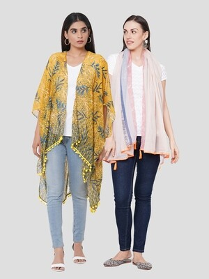 Stylist Printed Ponchos & Printed Scarf with Crochet- Combo offer