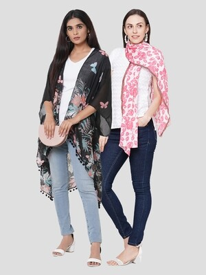 Stylist Printed Ponchos & Printed Scarf with Border Design - Combo offer