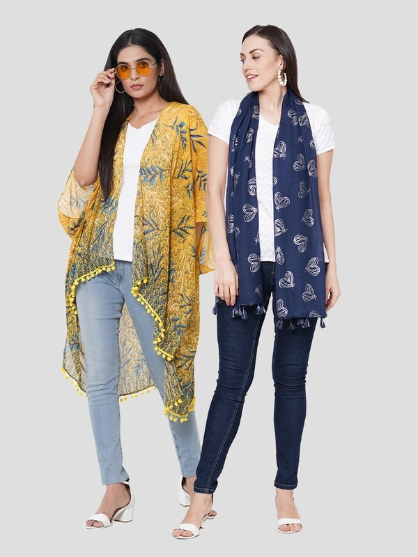 Stylist Printed Ponchos & Foil Printed Scarf with Tassels- Combo offer