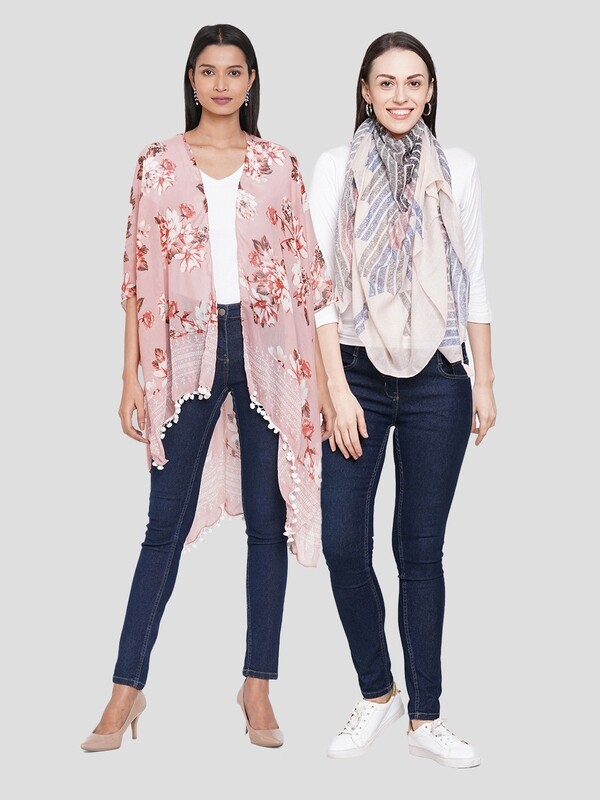 Stylist Printed Ponchos & Printed Scarf with tassels- Combo offer