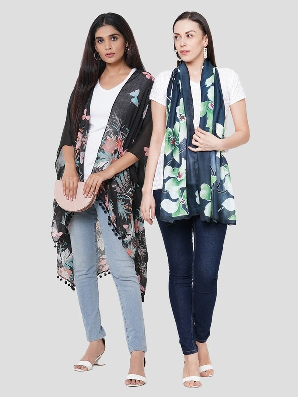 Stylist Printed Ponchos & Digital Printed Scarf - Combo offer