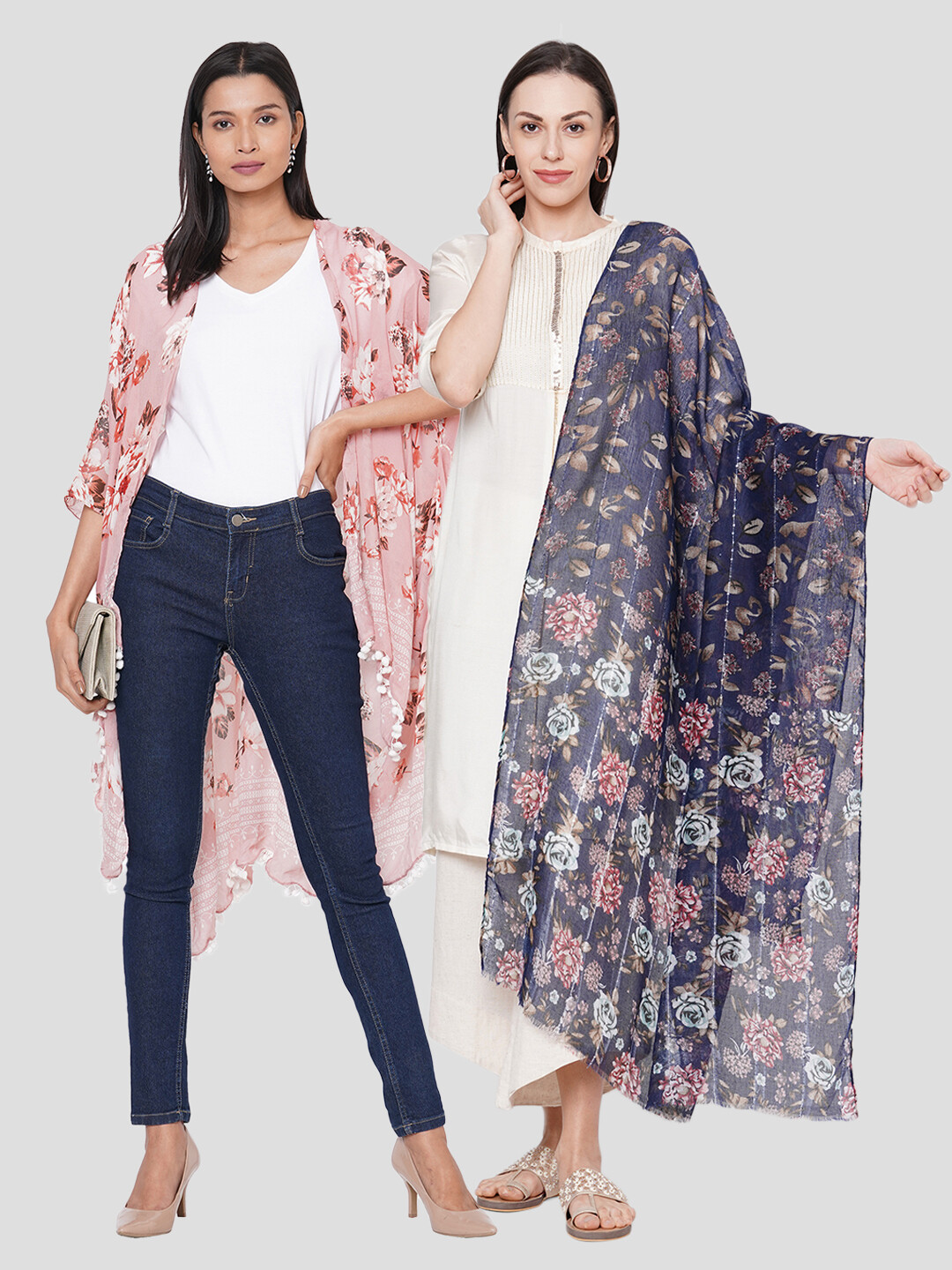 Stylist Printed Ponchos & Printed Scarf in sequins fabric - Combo offer