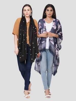 Stylist Printed Ponchos & embroidered Scarf - Combo offer