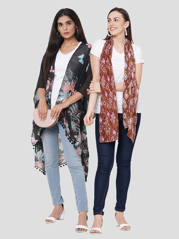 Stylist Printed Ponchos & Printed Scarf with Dobby Border- Combo offer