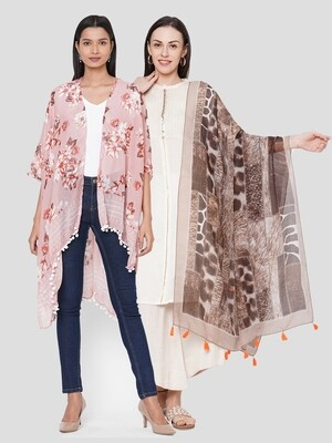 Stylist Printed Ponchos & Printed Scarf with Tassels -  Combo offer