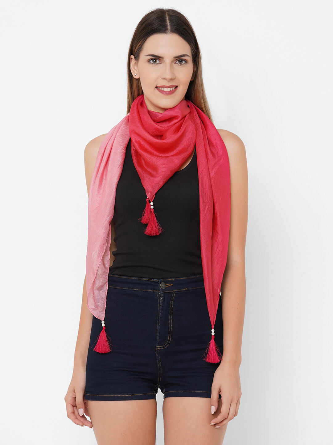 Soft silk Shaded square Scarves with Fancy Tassels