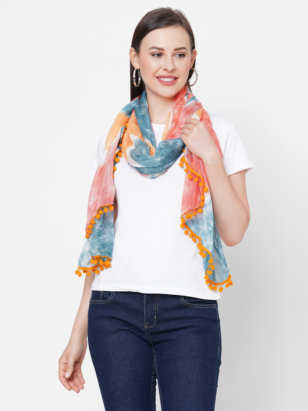 Large rayon Tie-Dye Scarves with Poms