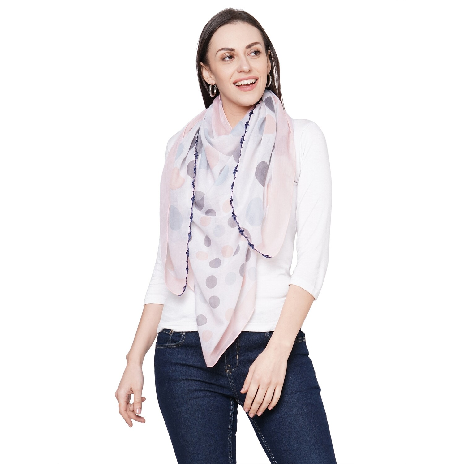 Printed Large Scarves with Crochet