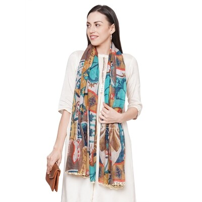 Printed Large Scarves with Crochet hand work