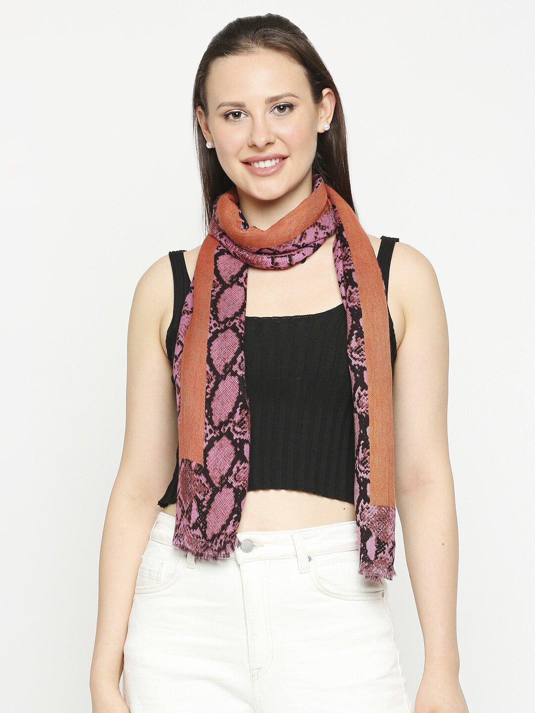 Animal Printed Scarves with Raw Fringes