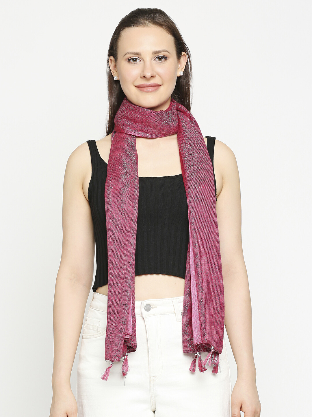 solid dyed lurex scarf