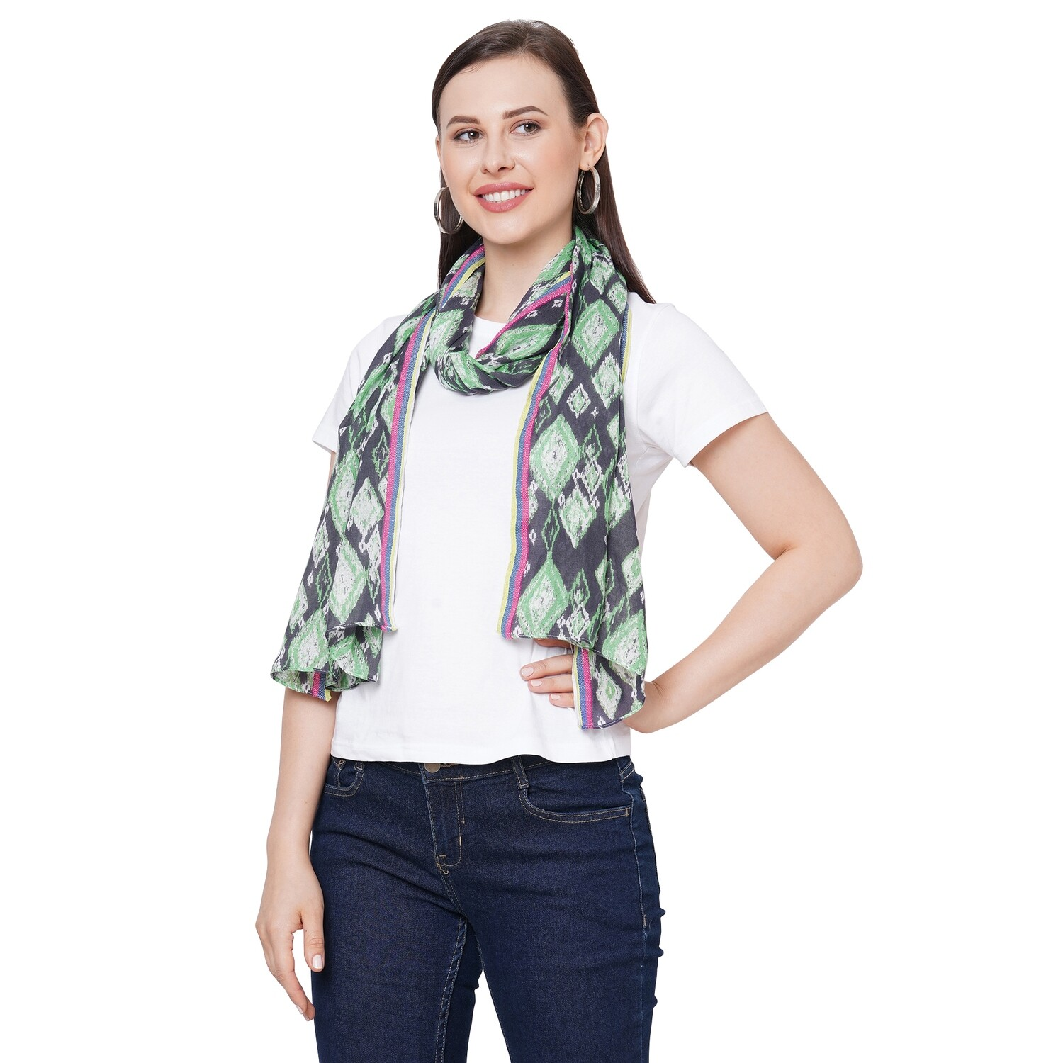 printed Scarves with Dobby Border