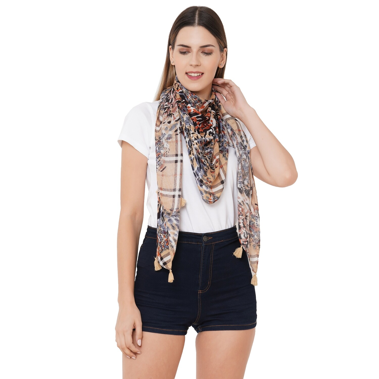 printed Scarves with rayon fabric with tassels