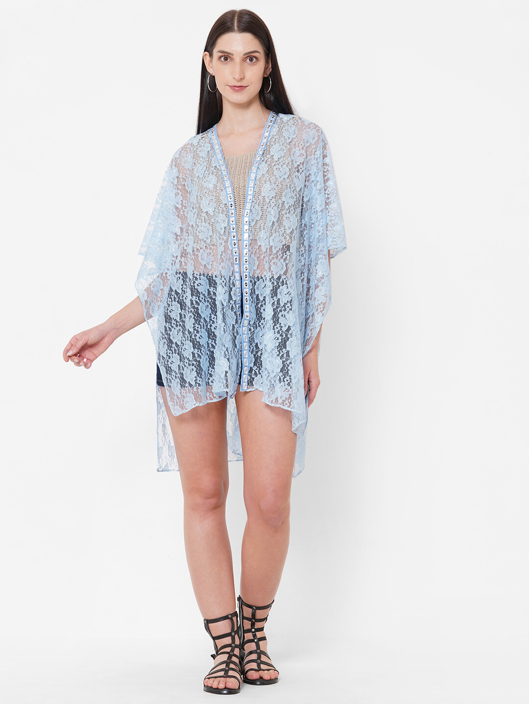 Net Fabric Kimono with Mirror lace borders