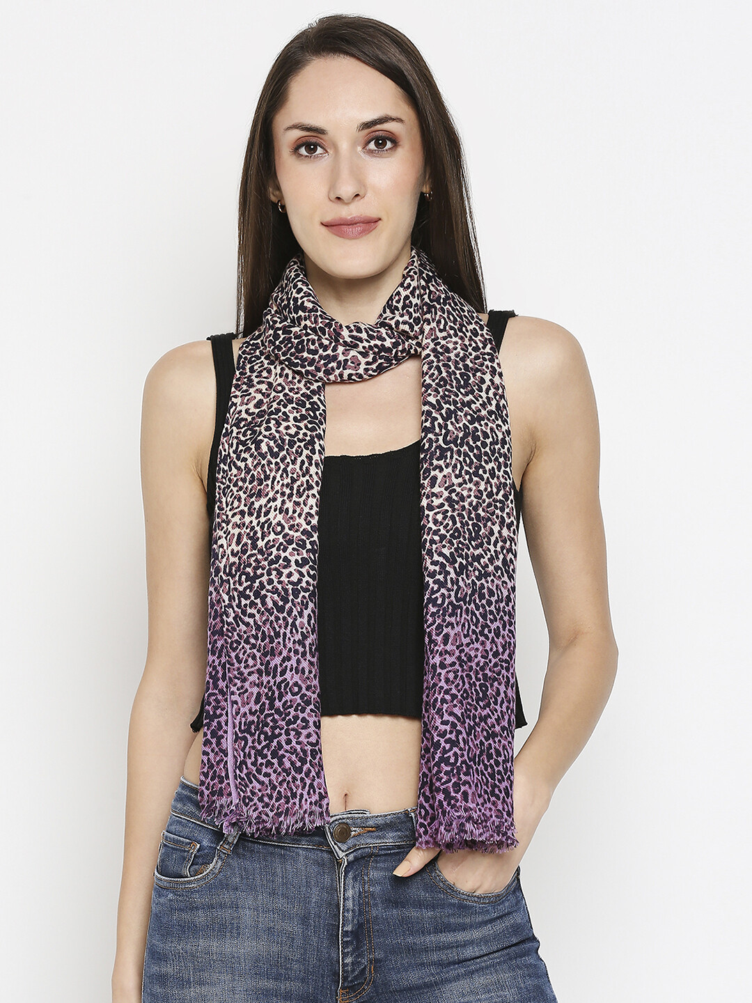 Animal Printed and Shaded Scarves with Raw Fringes