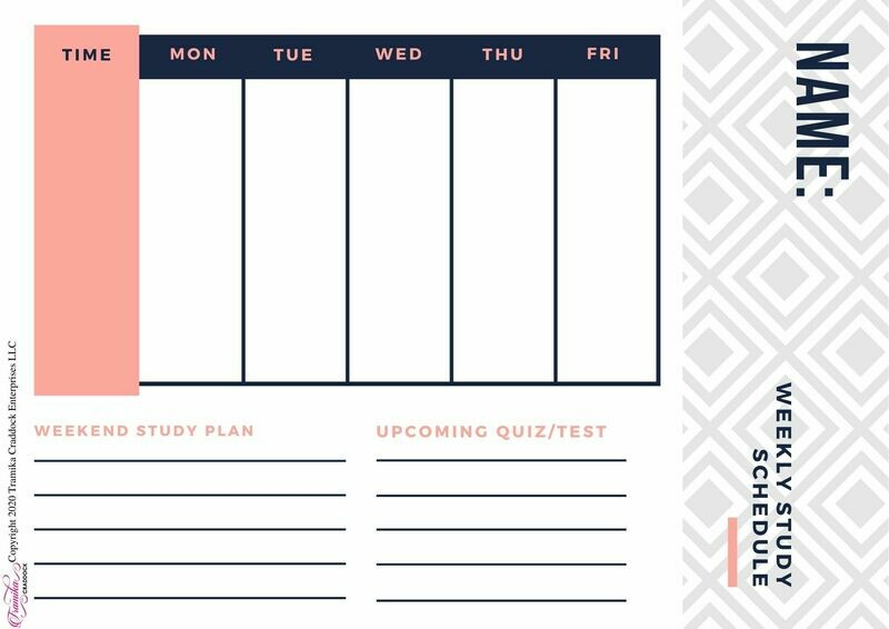 Girls Weekly Study Schedule Template