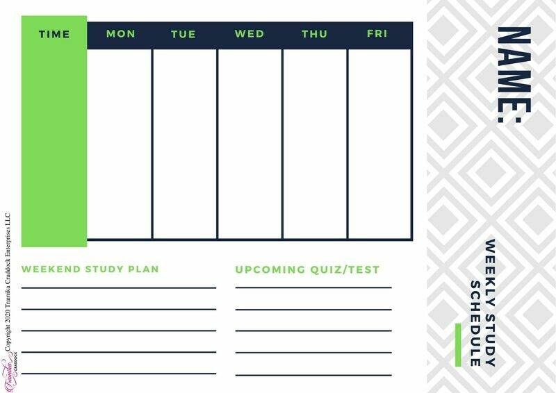Boys Weekly Study Schedule Template
