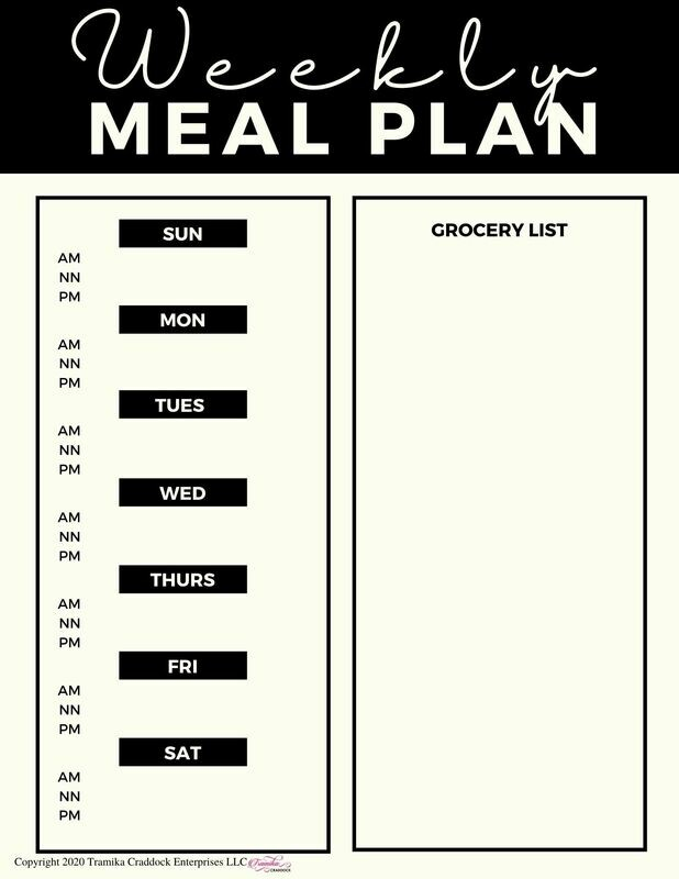 Basic Weekly Meal Planner Template