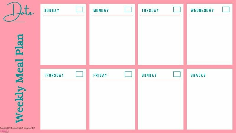 Weekly Meal Planner Template- Large Boxes