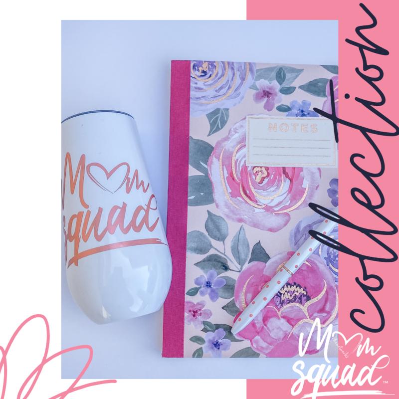 Mom Squad Champagne Tumbler/Notebook Set