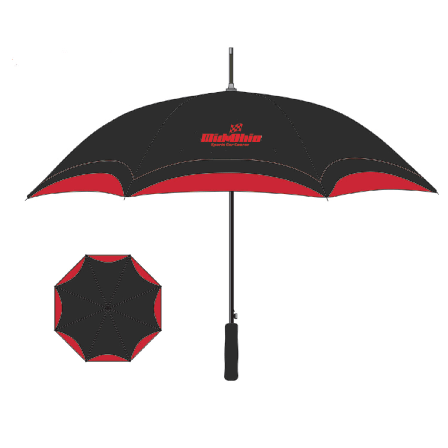 "Mid-Ohio Umbrella - Black/Red 46"" Arc"