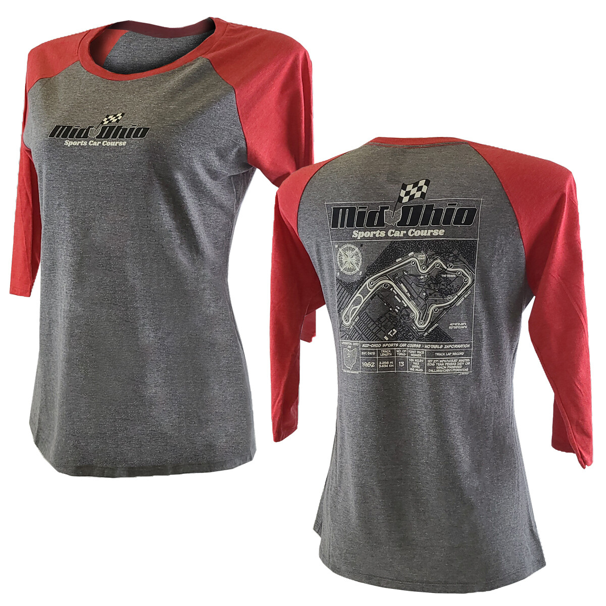 MO Ladies 3/4 Slv T -Grey/Red