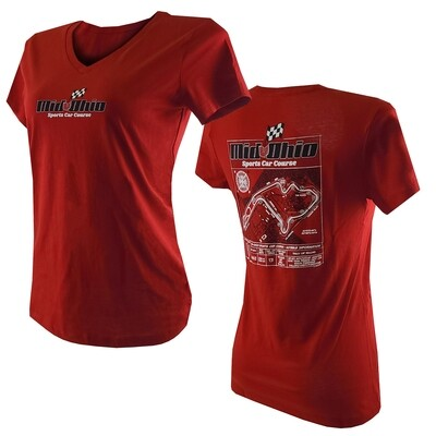 MO Ladies V-neck T - Red