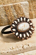 Boho Oval Blossom And Natural Stone - Pearl