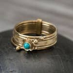 Ring - Brass Stack Turquoise Stone