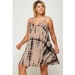 TieDye Cami Swing Dress - Taupe - 3X
