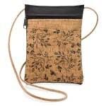 Be Lively Cork Mini Cross Body Bag Black Floral Print