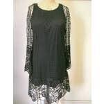 Long Sleeve Lace Dress - Black Medium