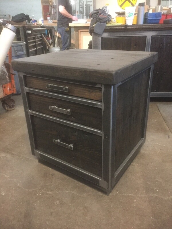Three Drawer Industrial Night Stand
