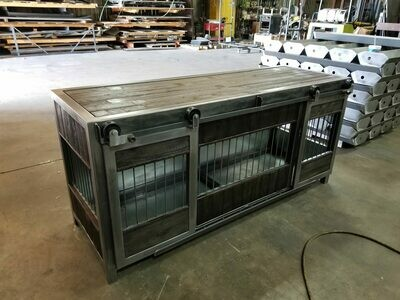 Large Industrial Rolling Barn Door Dog Kennel