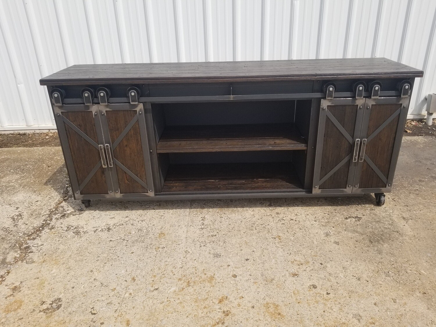 Industrial Rolling Barndoor Media Console