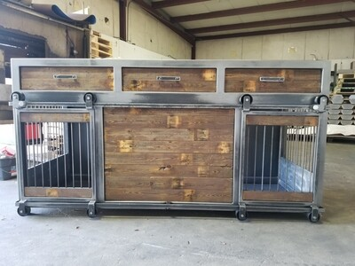 Industrial Farmhouse Rolling Barn Door Dog Crate