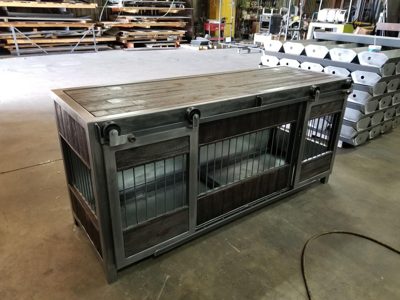 Industrial Farmhouse Rolling Barn Door Dog Crate