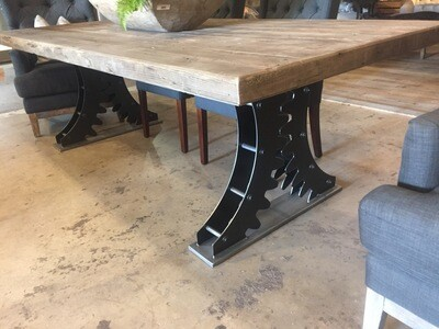 Double Gear Industrial Dining Table