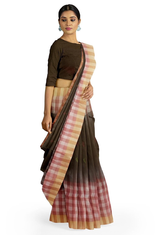 black red and white  handspun cotton saree