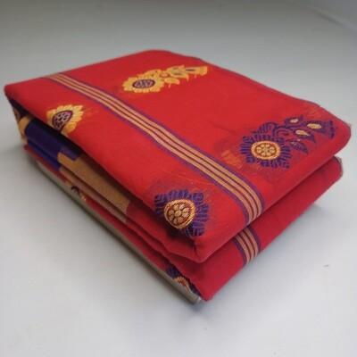 sundori red bengali Tant handspun saree