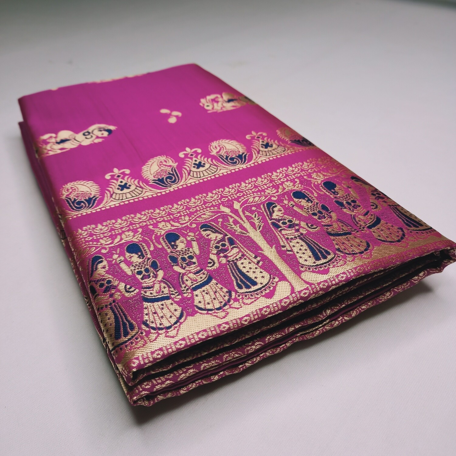 Magenta Meenakari Baluchari Saree on Pure Bishnupuri Silk