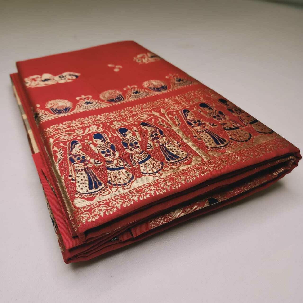 Regal red Meenakari Baluchari Saree on Pure Bishnupuri Silk