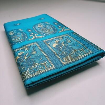 Turquoise blue Meenakari Baluchari Saree on Pure Bishnupuri Silk