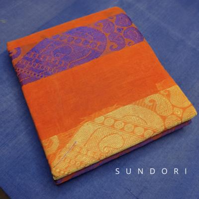 sundori bengali orange tant saree boro buti