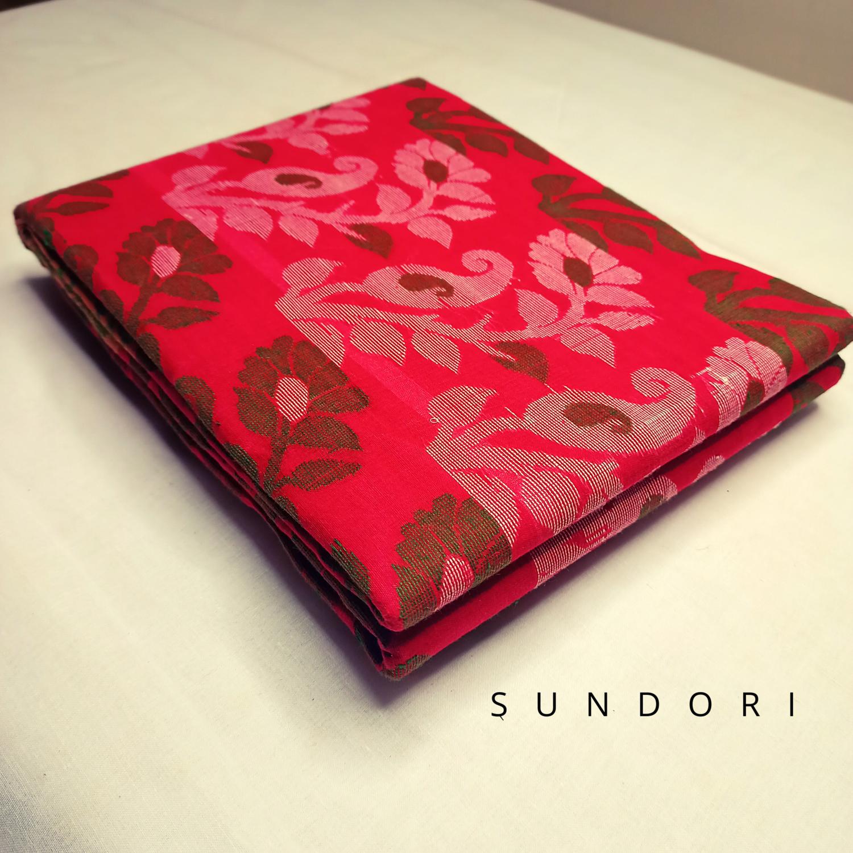 sundori traditional red dhakai jamdani saree
