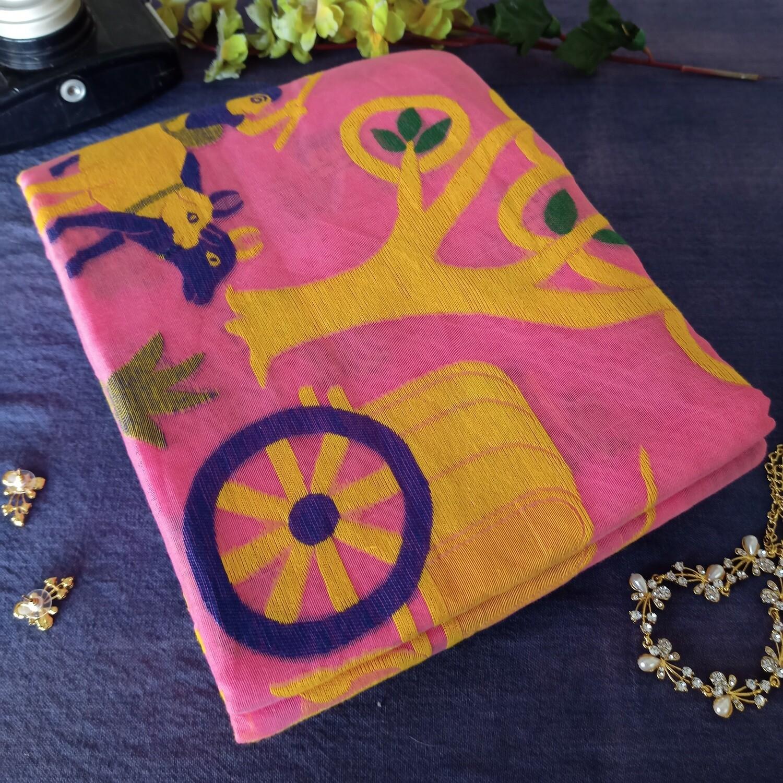 baby pink soft dhakai resham jamdani saree for festive