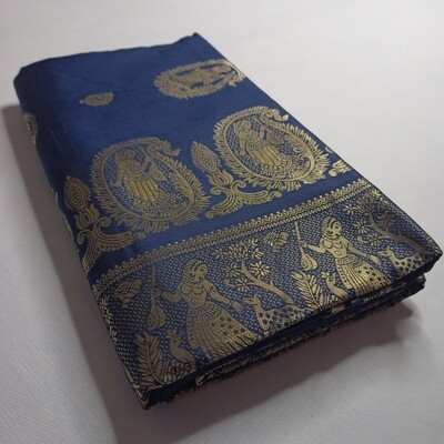 Blue Meenakari Baluchari Saree on Pure Bishnupuri Silk